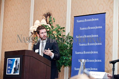 """Brian Reisinger, Senior reporter at the Nashville Business Journal moderates the panel discussion Thursday during the Nashville Business Journal's """"Banking's New Chessboard"""". The discussion was sponsored by KPMG at Loews Vanderbilt Hotel Nashville. Nathan Morgan 
