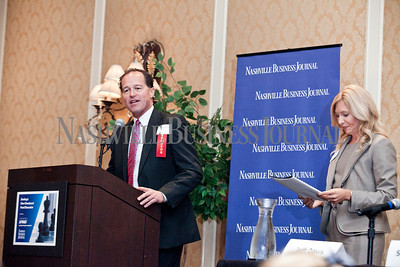 """Randy Laszewski of KPMG welcomes guests Thursday during the Nashville Business Journal's """"Banking's New Chessboard"""" panel discussion. The discussion was sponsored by KPMG at Loews Vanderbilt Hotel Nashville. Nathan Morgan 