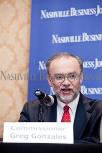 """Commissioner Greg Gonzales presents Thursday during the Nashville Business Journal's """"Banking's New Chessboard"""" panel discussion. The discussion was sponsored by KPMG at Loews Vanderbilt Hotel Nashville. Nathan Morgan 