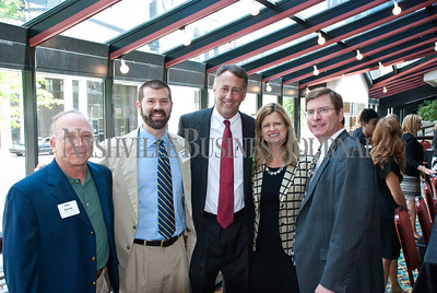 Phil Hertik, left to right, Jonathan Barnes, Jim Anderson, Judy Price and Rob Harvey at the Nashville Business Journal's Health Care Heroes celebration luncheon.