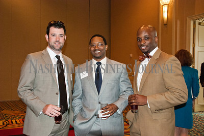 Brian McGimsey, left to right, James Horton, and Nicholas Harrison at the Nashville Business Journal's Health Care Heroes celebration luncheon.