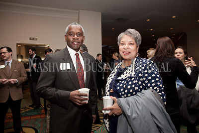 John Johnson and Dr. Miilicent Gray Lownes-Jackson pose together Thursday during the Nashville Business Journal's Entrepreneur Exchange presented by Bone McAllister Norton at the Renaissance Nashville Hotel. Nathan Morgan | Nashville Business Journal