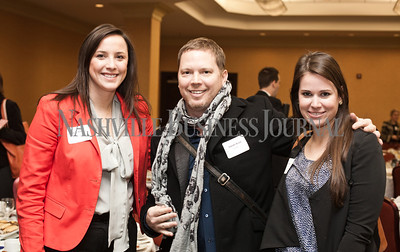 Frankie Mohylsky, left to right, Timothy Roach, and Chelsea Frazer pose Thursday during the Nashville Business Journal's Entrepreneur Exchange presented by Bone McAllister Norton at the Renaissance Nashville Hotel. Nathan Morgan | Nashville Business Journal