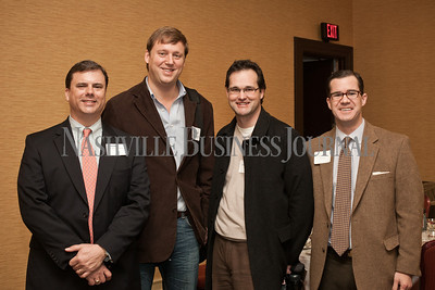 David Frederiksen, lef to right, Kemp Maxwell, and Charles Upjohn Evan Austill pose Thursday during the Nashville Business Journal's Entrepreneur Exchange presented by Bone McAllister Norton at the Renaissance Nashville Hotel. Nathan Morgan | Nashville Business Journal