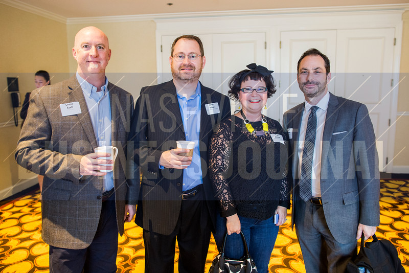"Chase Ezell, John Miser, Tish Pinion and Jason Bowles pose for a portrait at The ""New Normal"" breakfast panel at the Loews Vanderbilt Hotel."