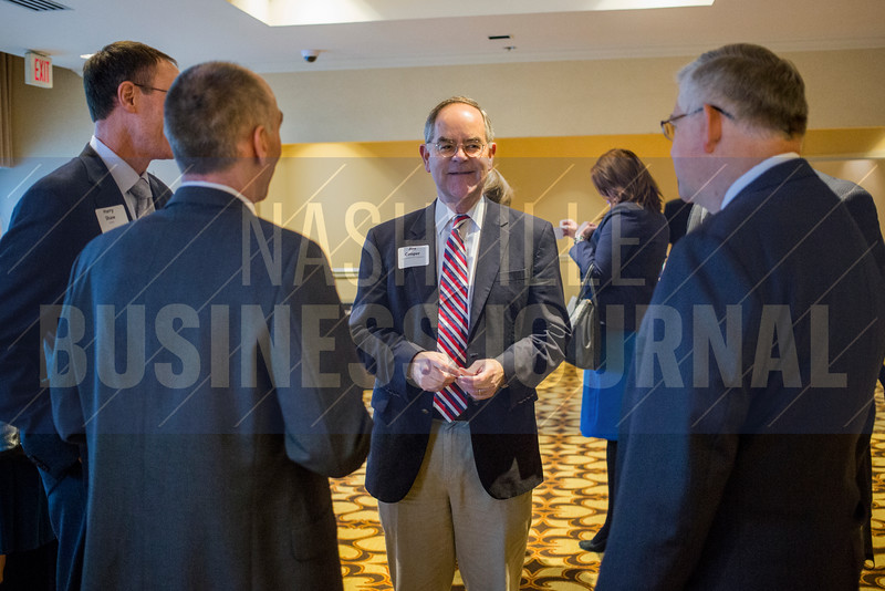 "Representative Jim Cooper speaks with guests before The ""New Normal"": Dealing with Healthcare's New Cyber Threat Profile breakfast panel at the Loews Vanderbilt Hotel."