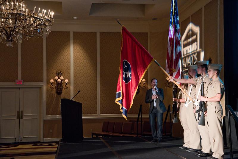 Vanderbilt University Marine Corps ROTC presents the colors during the Nashville Business Journal's first annual Veterans Awards luncheon at Loews Vanderbilt.