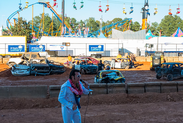 Elvis singing in front of Destruction Derby at NC State Fair 2016