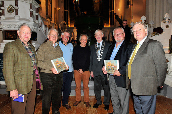Members of the Maritime Museum with Peter Pearson before the event. L to R: Hugh O'Rourke, Noel Vaughan, Brian Montgomery, Peter Pearson, Richard McCormick (President Maritime Institute of Ireland), Eoghan Ganly and Breasal O'Caollai.<br /> Photograph: Margaret Brown<br /> <br /> Peter Pearson presented A Magic Lantern Show - Glass Slides of Old Dún Laoghaire.<br /> A Collection of Photographs of the 1880-1920 Period. This presenation took place on Tuesday 11th November 2014 at 7.30pm at The National Maritime Museum of Ireland, Haigh Terract, Dún Laoghaire. For further information contact organiser Eoghan Ganly 087.2377955 or President of the Maritime Institute of Ireland Richard McCormick 087.7556325