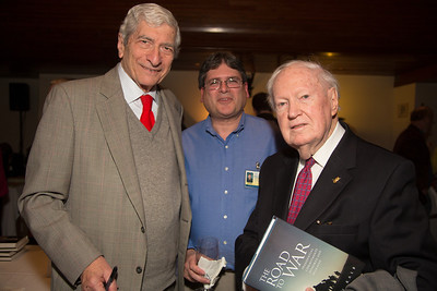 Marvin Kalb; Jeffrey Schlosberg, archivist of the National Press Club; and John P. Cosgrove, senior past president of the National Press Club.