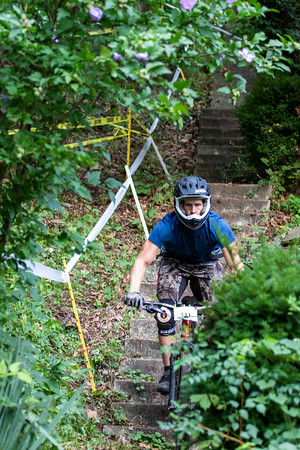 Trying to beat the rain, bikers took on day two of the fourth installment of the NWA Enduro Series in Eureka Springs, ripping through downhill course throughout downtown Eureka.