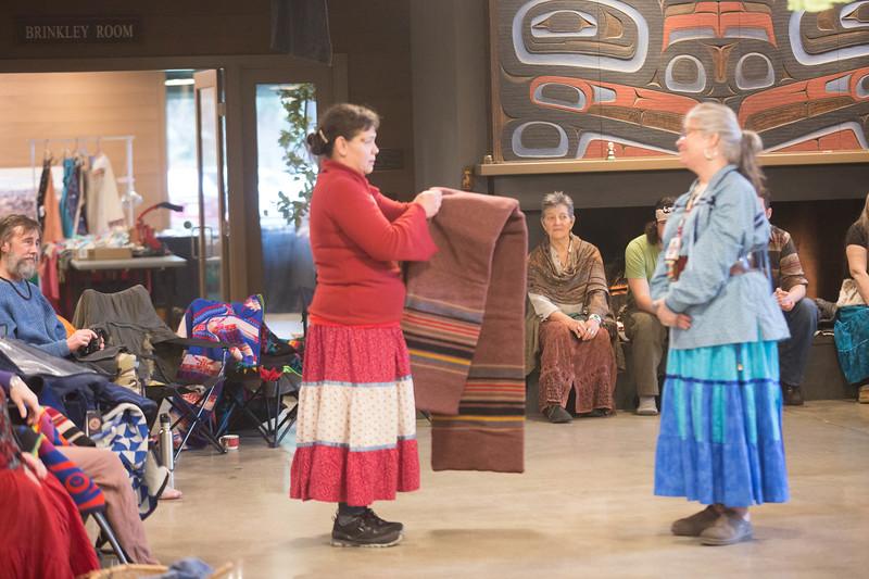 Wendy presenting Susan a blanket