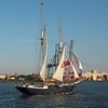 Harbor sailing ship