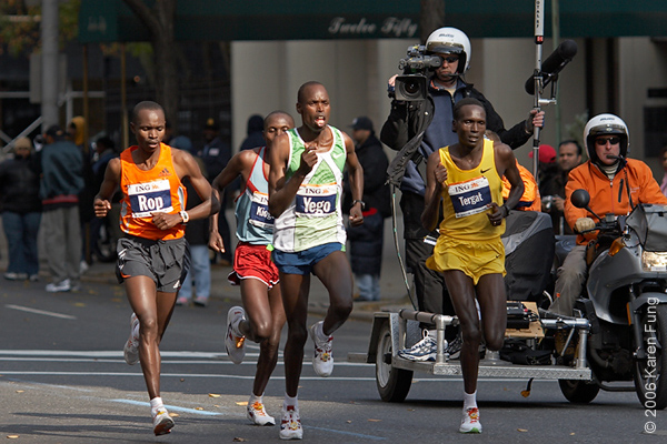 2006: A group of elite runners trail Gomes de Santos by several hundred  yards at mile 23 of the 26-mile race.
