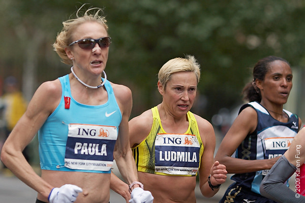 2009:  Elite runners Paula Radcliffe, Ludmila Petrova and Deratu Tulu.  Tulu won the race, becoming the first Ethiopian female winner in the marathon's 40-year history.