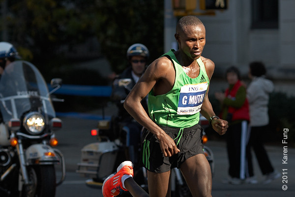 2011: Geoffrey Mutai of Kenya was the male champion, setting a course record of 2:05:06.