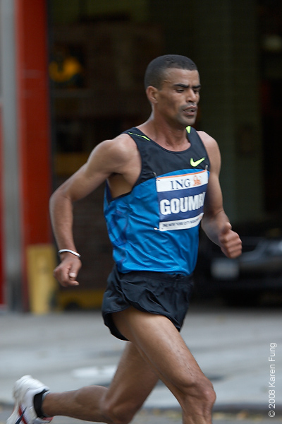 2008:  Abderrahim Goumri was ahead at mile 19 but was overpowered by Gomes dos Santos in the last two miles and ended up in second place.  He was also the runner-up in 2007.