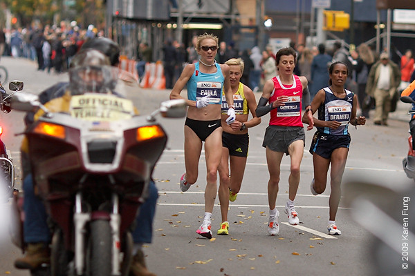 2009:  Elite runners Paula Radcliffe, Ludmila Petrova, Christelle Daunay and Deratu Tulu.  Tulu won the race, becoming the first Ethiopian female winner in the marathon's 40-year history.