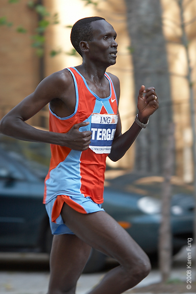 2008:  Paul Tergat, the winner in 2005, finished in fourth place this year.
