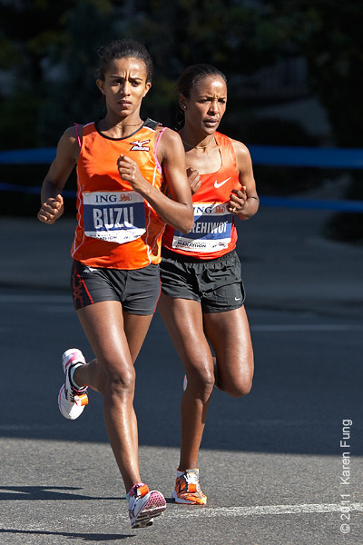 2011: Buzunesh Deba  (left) and Firehiwot Dado caught up to Keitany in Central Park, then passed her.  Dado was the women's champion, with Deba placing second, only 4 seconds behind Dado.