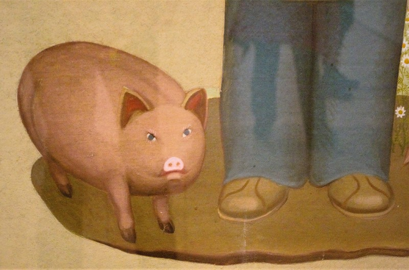 angry Grant Wood pig