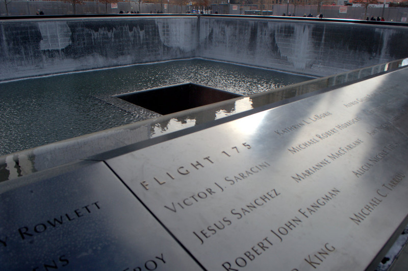 Names of all the innocents at the Freedom Tower Memorial Plaza