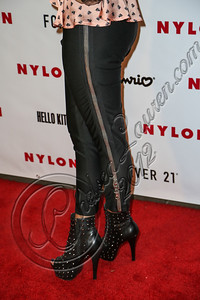 WEST HOLLYWOOD, CA - OCTOBER 15:  DJ Lindsay Luv (pants detail) arrives at Nylon's October IT Issue and launch of the Hello Kitty and Forever 21 collaboration at The London West Hollywood on October 15, 2012 in West Hollywood, California.  (Photo by Chelsea Lauren/WireImage)