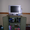 TV and TV stand with our stash.