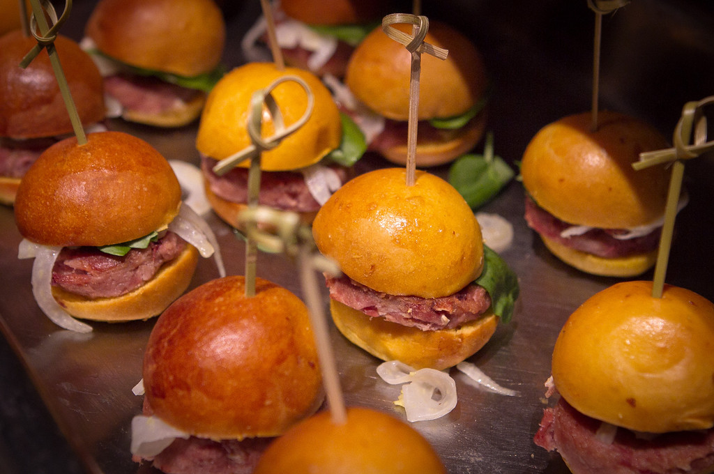 Duck Confit Mini Sliders at the Napa Flavor Gala being held at the CIA Greystone in St. Helena, Calif., is seen on November 18th, 2011.