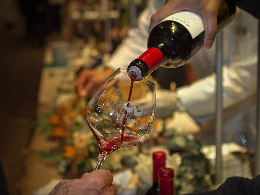 A Cabernet Franc being poured at the Napa Flavor Gala being held at the CIA Greystone in St. Helena, Calif., on November 18th, 2011.