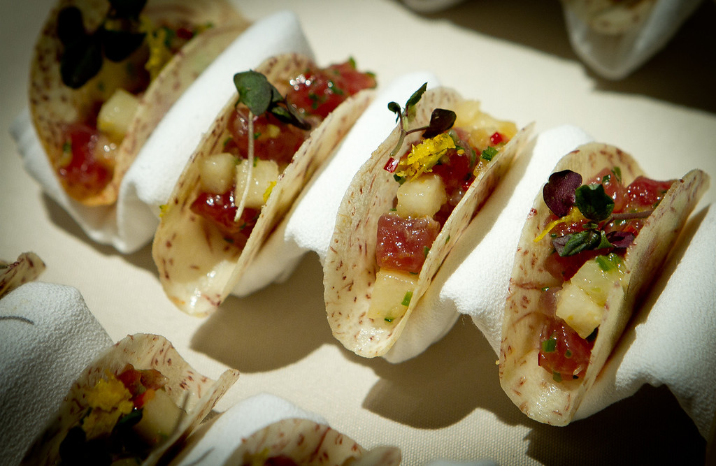 Fish Story restaurant made Ahi Tuna Tacos at the Napa Flavor Gala being held at the CIA Greystone in St. Helena, Calif., on November 18th, 2011.