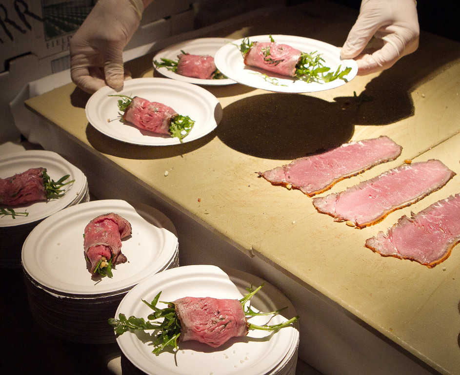 Smoked Sirloin Carpaccio is served by VINeleven restaurant at the Napa Flavor Gala being held at the CIA Greystone in St. Helena, Calif., on November 18th, 2011.