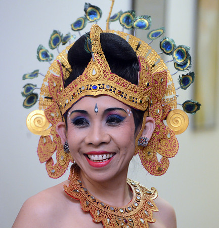 """Nikitut Marni waits to perform a traditional Balinese dance with the group Gamelan Tunas Mekar  during the ceremony.<br /> Naropa University celebrated the presidential inauguration of Charles G. Lief on Saturday at the Nalanda Campus.<br /> For  more photos and a  video of the ceremony,  go to  <a href=""""http://www.dailycamera.com"""">http://www.dailycamera.com</a>.<br />  Cliff Grassmick  / February 16, 2013"""