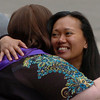 Sherri Szippl, left, has a hug for Sherry Gobaleza before the ceremony.<br /> Naropa University graduation was held at Macky Auditorium on Saturday, May 8, 2010.<br /> Cliff Grassmick / May 8, 2010