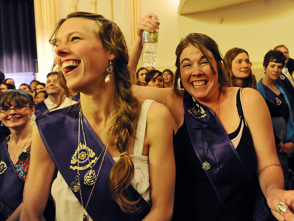 Zoe Zimmerman, left, and Caitlin Gill are having fun at graduation.<br /> Naropa University graduation was held at Macky Auditorium on Saturday, May 8, 2010.<br /> Cliff Grassmick / May 8, 2010