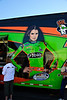 Danica raced the day before, but had huge lines at her souvenir trailer all day long.
