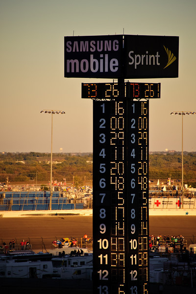 Dusk. Biffle still in the lead.