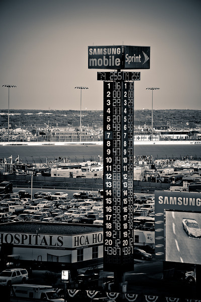 The tower at dusk. Biffle leads Reutimann.