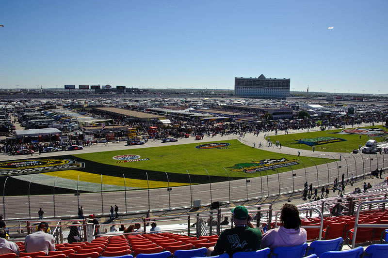 The infield. Martin Truex would slide sideways through the grass at 180 miles per hour about two hours later.