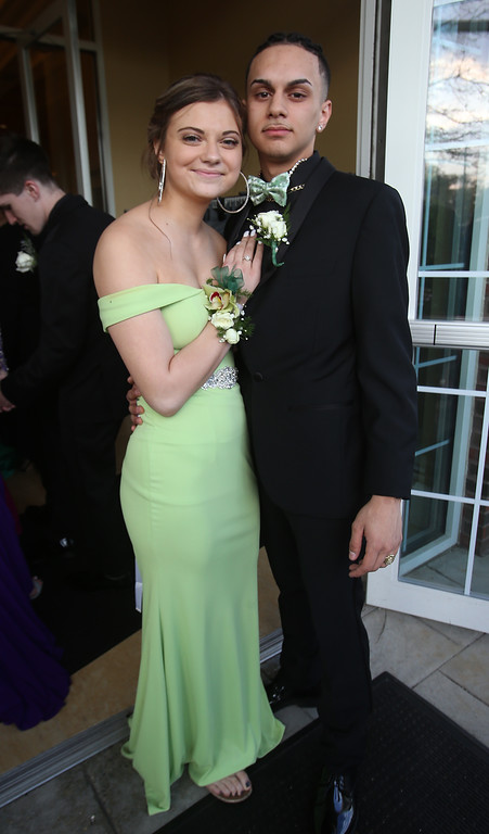 . Nashoba Tech prom at Devens. Delaney Fallon of Pepperell and Jose Soba of Ayer. (SUN/Julia Malakie)