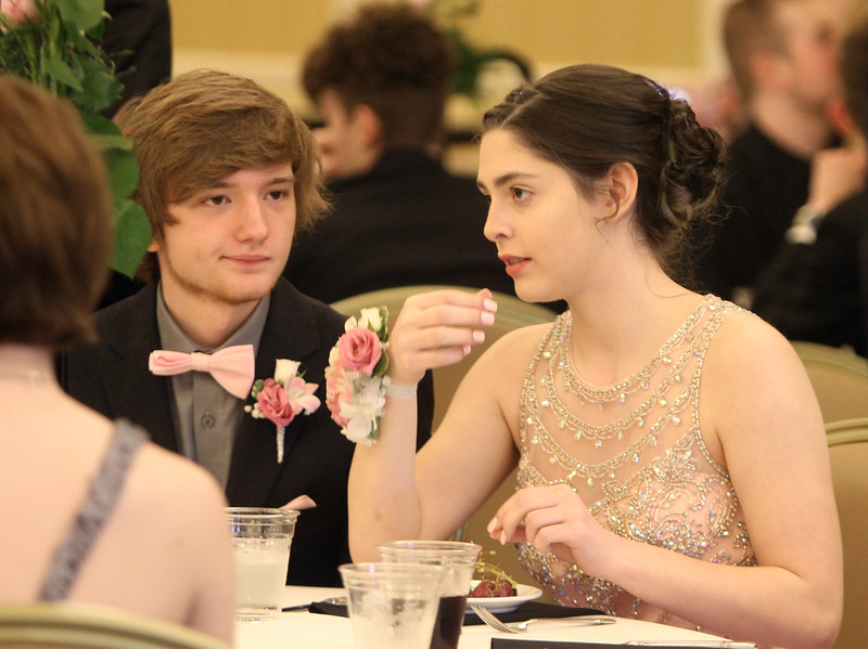 Nashoba Tech prom at Devens. Justin Debeaucourt, left, and Jillian Grady, both of Chelmsford. (SUN/Julia Malakie)