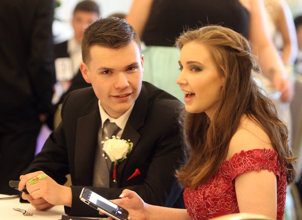 . Nashoba Tech prom at Devens. Nick Stansfield of Lunenburg and Cheyenne Fuchs of Townsend. (SUN/Julia Malakie)