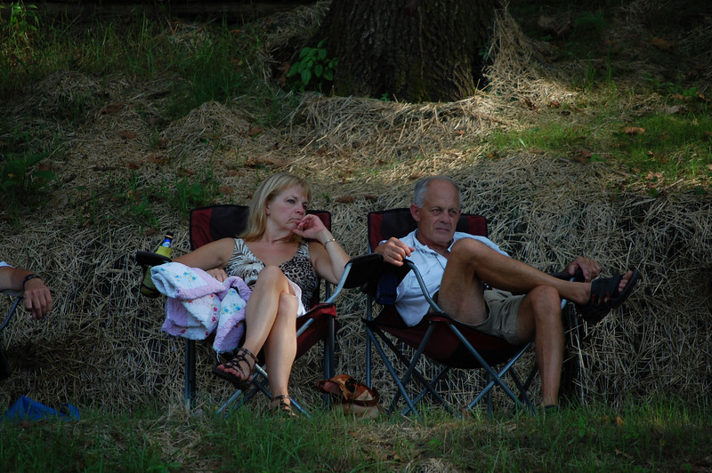 Gerri and Joe camped up on the hill in the shade