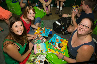 Waiting to have their books signed by children's author Kate DiCamillo Emily Larson-Arlington, VA, Heidi Torrens-Harrisburg, PA, Rachel Bowersman, Burke, Va are School teachers, pre-school-kindergarten