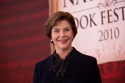 "Former First Lady Laura Bush speaks at the National Book Festival. She read selections from her memoir, ""Spoken From the Heart,"" about her eight years in the White House. An Honorary Ambassador for the U.N. Literary Decade, she hosted the first-ever White House Conference on Global Literacy in 2006 to encourage international cooperation and build free societies through literacy. In 2001 she joined with the Library of Congress to launch the first National Book Festival in Washington. As first lady of Texas, Mrs. Bush founded the state wide Texas Book Festival in 1995. She has taught in the Dallas, Houston and Austin public schools. The 10th annual National Book Festival, organized and sponsored by the Library of Congress, was held on Saturday, Sept. 25, 2010, on the National Mall in Washington, D.C. (Photo by Jeff Malet)."