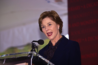 "Former First Lady Laura Bush speaks at the National Book Festival. She read selections from her memoir, ""Spoken From the Heart,"" about her eight years in the White House. In 2001 she joined with the Library of Congress to launch the first National Book Festival in Washington. As first lady of Texas, Mrs. Bush founded the state wide Texas Book Festival in 1995. She has taught in the Dallas, Houston and Austin public schools. The 10th annual National Book Festival, organized and sponsored by the Library of Congress, was held on Saturday, Sept. 25, 2010, on the National Mall in Washington, D.C. (Photo by Jeff Malet)."