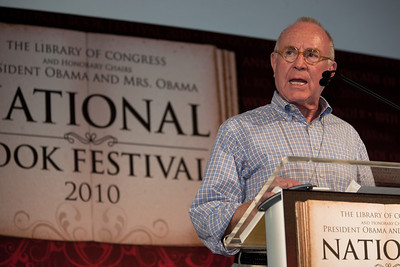 "Richard Rhodes speaks at the National Book Festival. He is the author or editor of more than 20 books, including ""The Making of the Atomic Bomb,"" which won a Pulitzer Prize in Nonfiction, a National Book Award and a National Book Critics Circle Award. ""The Twilight of the Bombs: Recent Challenges, New Dangers and the Prospects of a World Without Nuclear Weapons"" (Knopf), has just been published. The 10th annual National Book Festival, organized and sponsored by the Library of Congress, was held on Saturday, Sept. 25, 2010, on the National Mall in Washington, D.C. (Photo by Jeff Malet)."