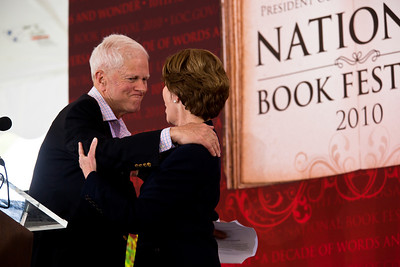 "Former First Lady Laura Bush is introduced by Librarian of Congress James H. Billington at the beginning of the National Book Festival. She read selections from her memoir, ""Spoken From the Heart,"" about her eight years in the White House. In 2001 she joined with the Library of Congress to launch the first National Book Festival in Washington. As first lady of Texas, Mrs. Bush founded the state wide Texas Book Festival in 1995. She has taught in the Dallas, Houston and Austin public schools. The 10th annual National Book Festival, organized and sponsored by the Library of Congress, was held on Saturday, Sept. 25, 2010, on the National Mall in Washington, D.C. (Photo by Jeff Malet)."