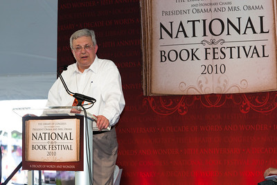 """Henry Petroski speaks at the National Book Festival. Petroski is the Aleksandar S. Vesic Professor of Civil Engineering and a professor of history at Duke University, where he specializes in the analysis of failure. His first of many books was """"To Engineer Is Human: The Role of Failure in Successful Design."""" He holds a Ph.D. in theoretical and applied mechanics from the University of Illinois at Urbana-Champaign and is a distinguished member of the American Society of Civil Engineers. He has most recently written """"The Essential Engineer: Why Science Alone Will Not Solve Our Global Problems"""" (Knopf). The 10th annual National Book Festival, organized and sponsored by the Library of Congress, was held on Saturday, Sept. 25, 2010, on the National Mall in Washington, D.C. (Photo by Jeff Malet)."""