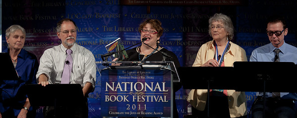 "Exquisite Corpse Adventure Emcee Mary Brigid Barrett and authors and illustrators Calef Brown, Susan Cooper, Jack Gantos, Gregory Maguire, Patricia McKissack, Katherine Paterson and Chris Van Dusen in a session of fun and surprises as they bring you excerpts from the episodic story ""The Exquisite Corpse Adventure,"" developed as a biweekly story event for the Library of Congress for the Read.gov website and available in August as a book from Candlewick Press."